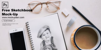 Free Sketchbook Mock-Up PSD Template