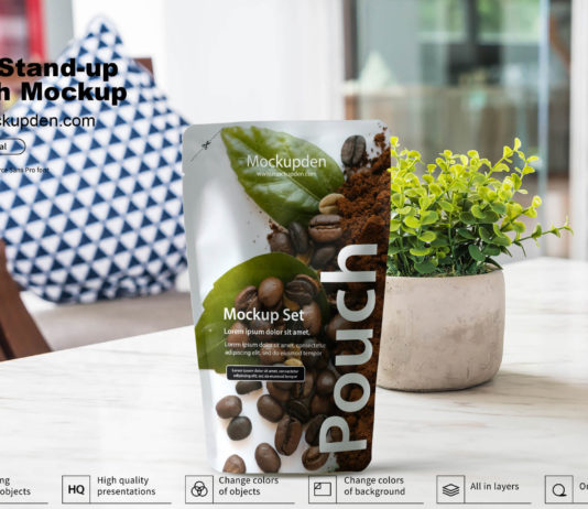 Free Stand-up Pouch Mockup PSD Template