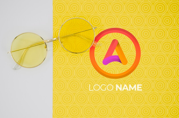 Summer glasses with logo name design Free Psd