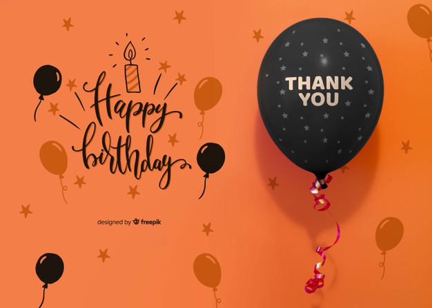 Thank you and happy birthday with confetti and balloon Free Psd