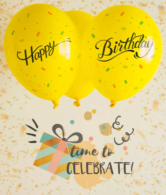 Time to celebrate with balloons and confetti Free Psd