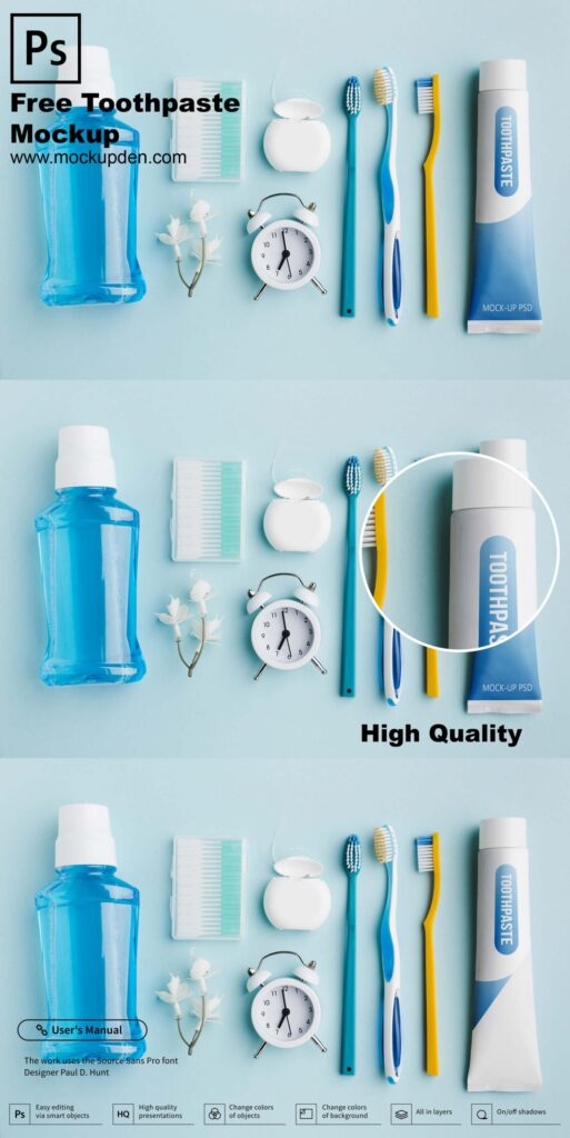 Free Toothpaste Mockup PSD Template