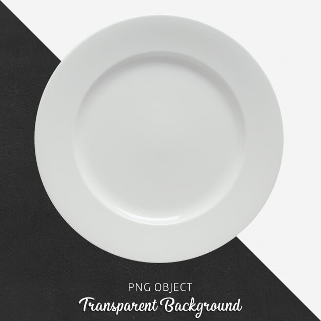 Transparent white ceramic or porcelain round plate Premium Psd