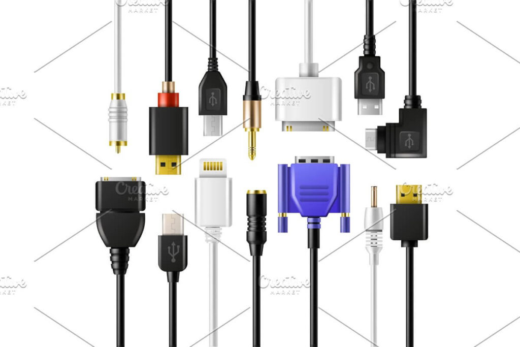 USB wire cable vector phone charger