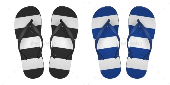 Vector Realistic Striped Flip Flop Set Closeup