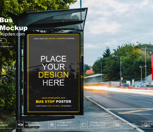 Free Bus Stop Pster Mockup PSD Template