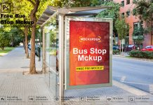 Free Bus Stop Mockup PSD Template