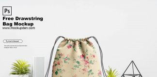 Free Drawstring Bag Mockup PSD Template