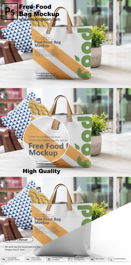 Free Food Carry Bag Mockup