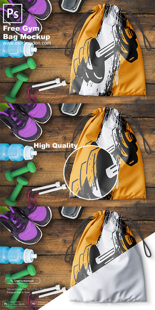 Free Gym Bag Mockup PSD Template