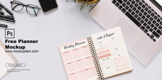 Free Planner Mockup PSD Template