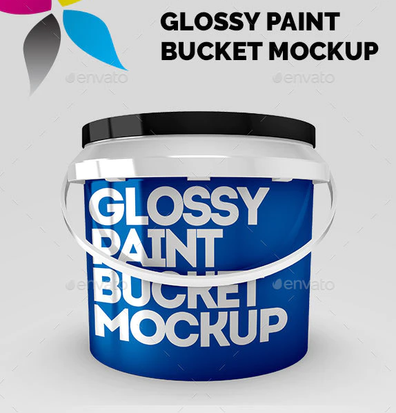 20+ Colorful Free Paint bucket mockups PSD Templates 4