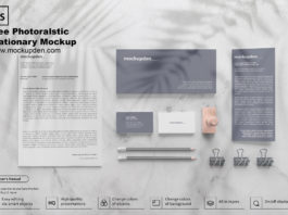 Free Photo realistic Stationery Mockup PSD Template