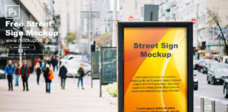 Free Street Sign Mockup PSD Template