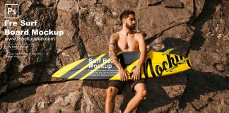 Free Surf Board Mockup PSD Template