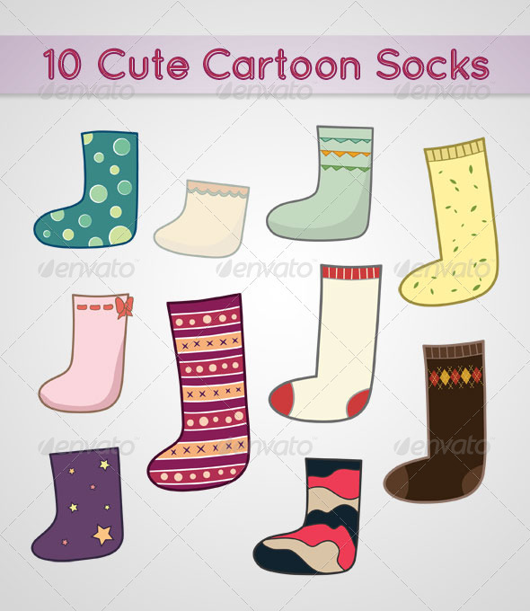 10 Different Designs Of Cute Socks vector.