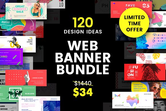 120 in 1 Web Banner Bundle Mockup: