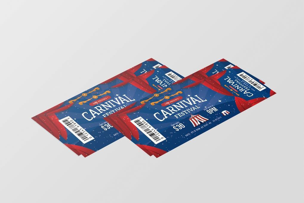 2 Carnival Party Entry ticket Illustration