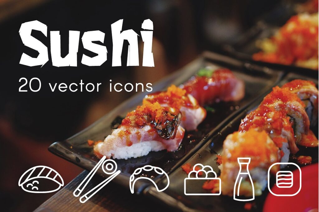 20 Vector Design Sushi Icons