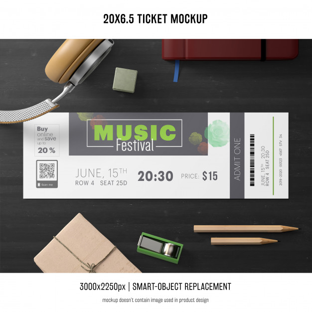 20x6.5 Ticket template design