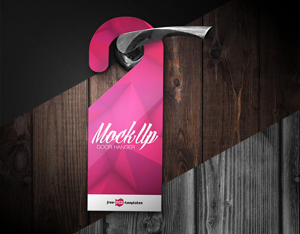 3 different Background Door Hanger Mockup PSD