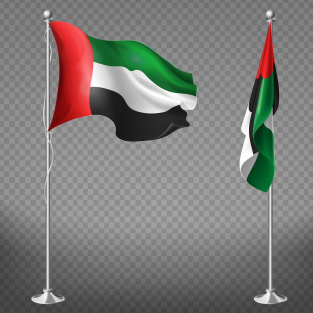 3D Realistic Flag Of United States Emirates Vector.