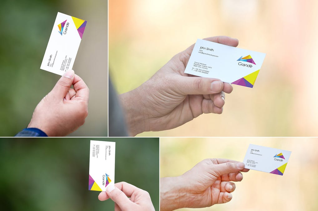 4 Different views of a business card mockup