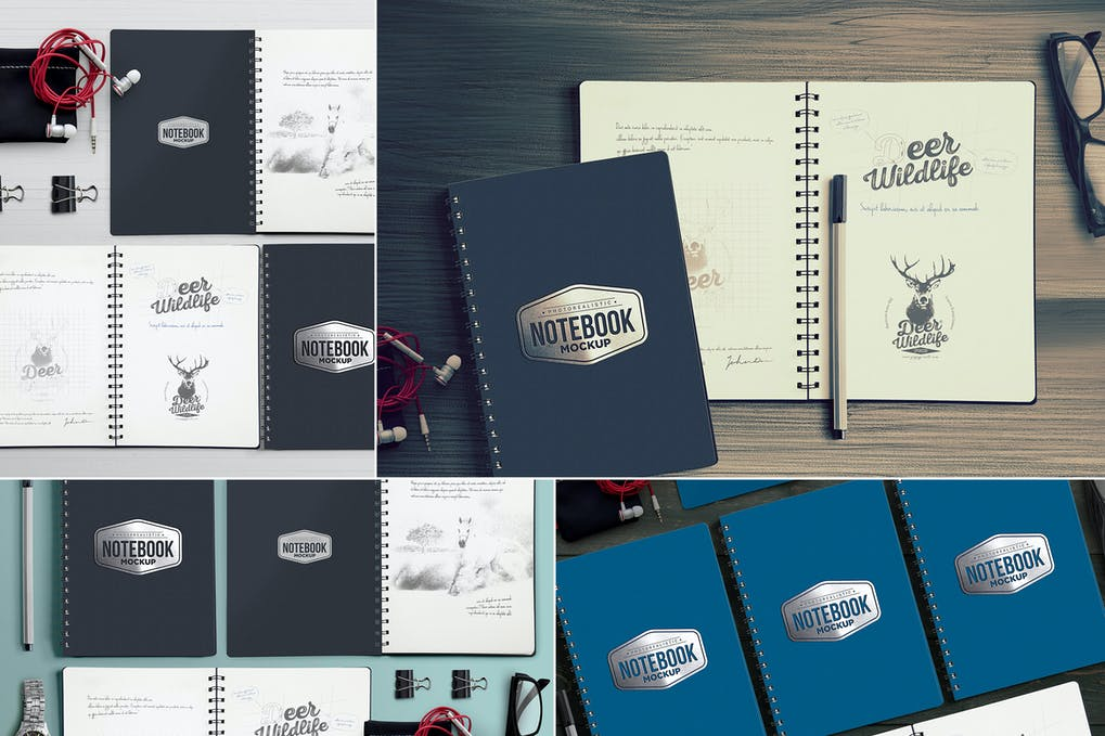 4 Notebook Mockups With Movable Elements