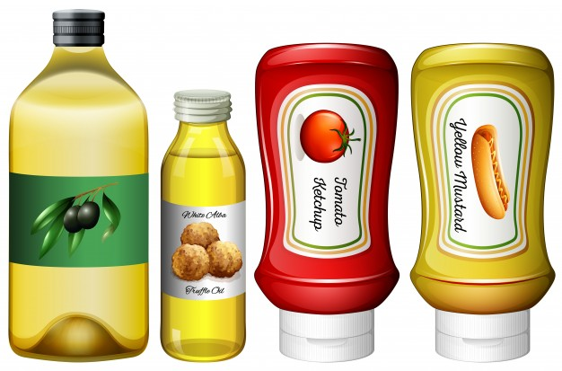 4 Sauce And Oil Bottle Vector Design Illustration With White And Black Lid