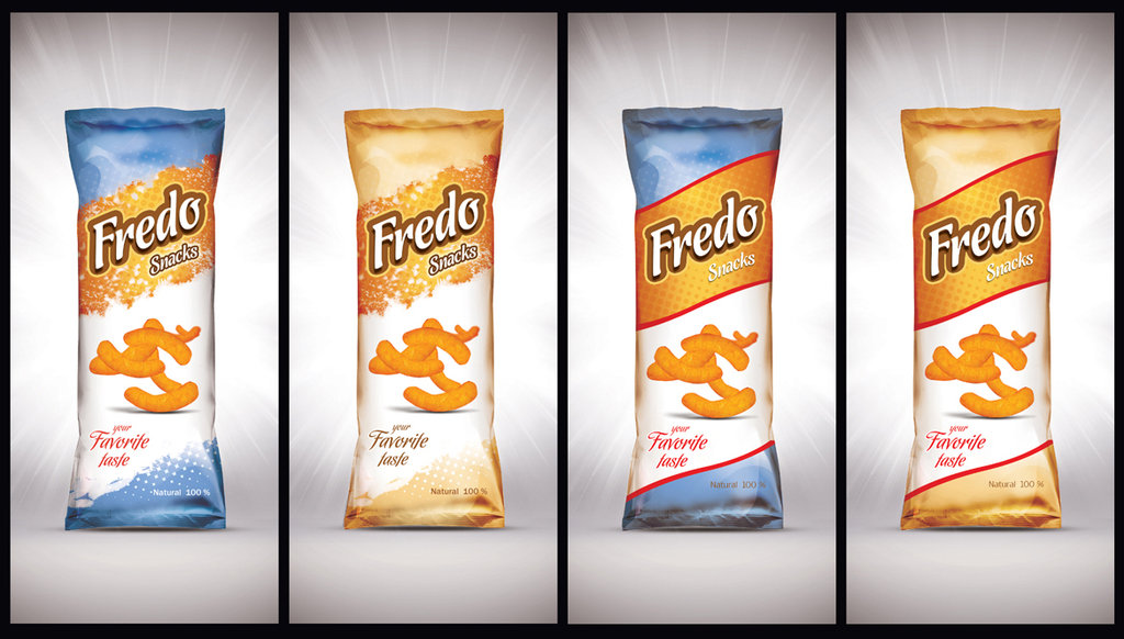 4 Side-By-Side Snacks Packaging Wrapper Mockup