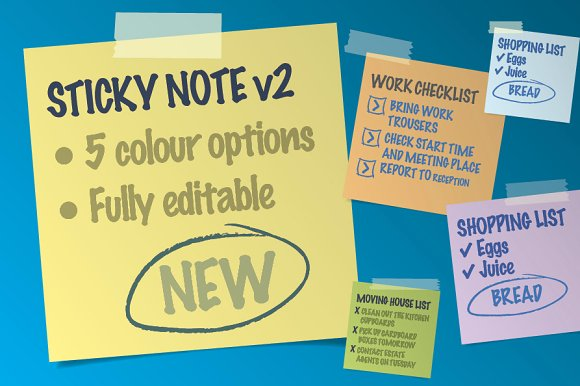 5 Color Option Different Sticky Notes Template in PSD