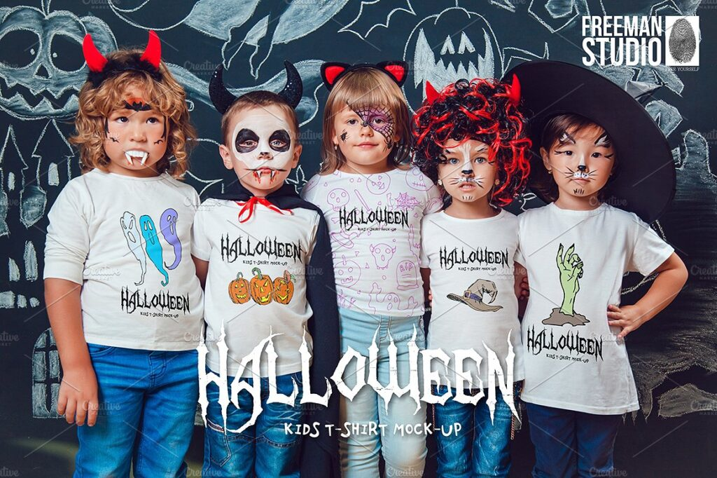 5 kid's In Halloween T-shit PSD Mockup.
