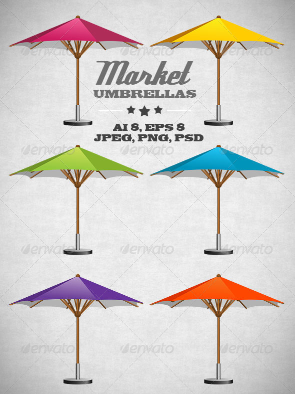 6 Different Colors Of Umbrella Vector