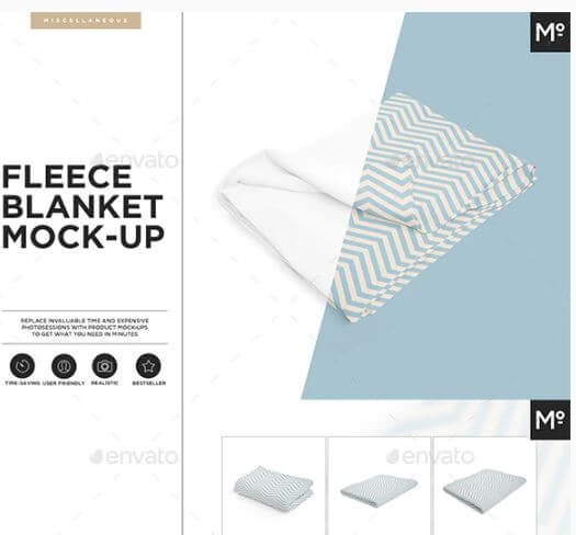 9 Different Views Of A Blanket Mockup