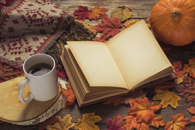 A Blanket Near A Book And Pumpkin Template.