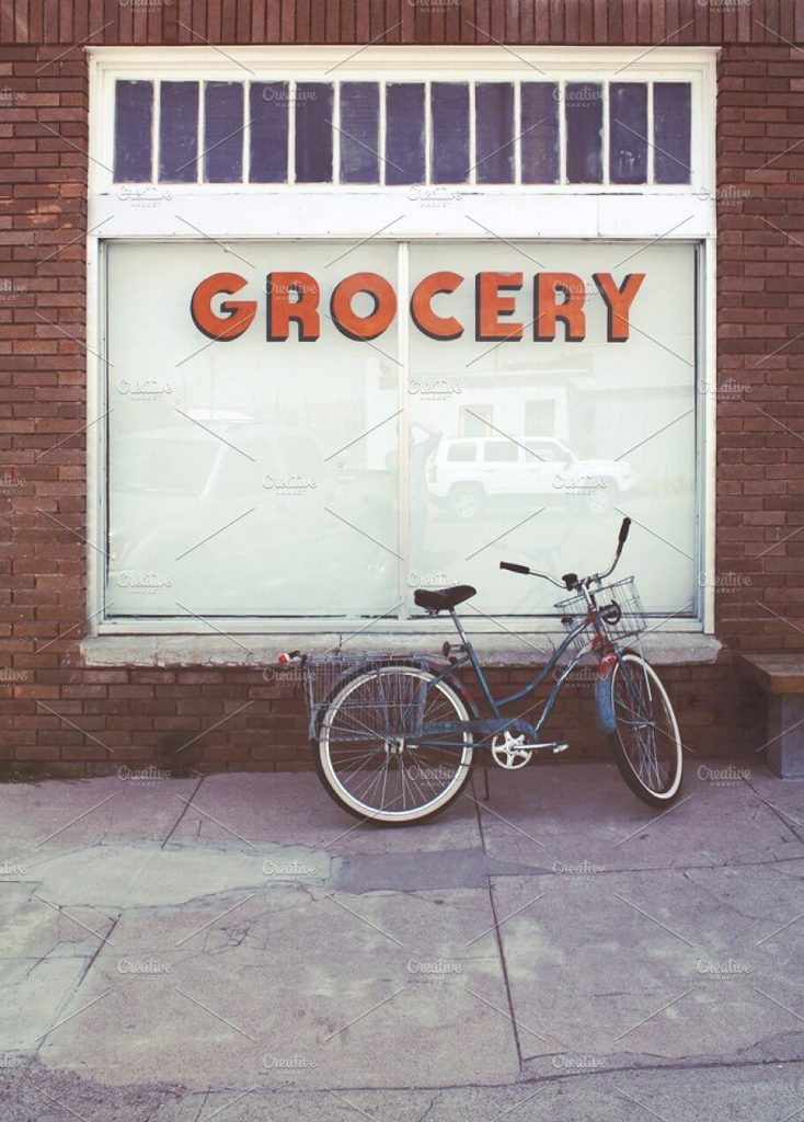 A Brick and Mortar Grocery Storefronts Mockup