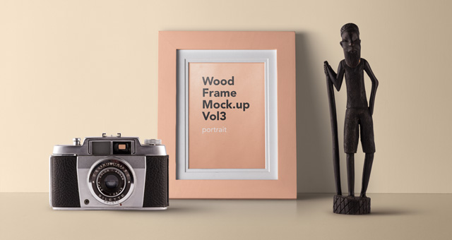 A Camera With A Wooden Photo frame PSD Mockup.