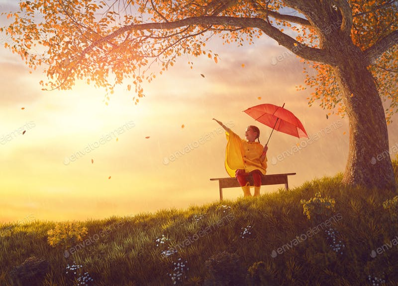 A Child Holding An Umbrella In The Spring Season PSD Mockup.