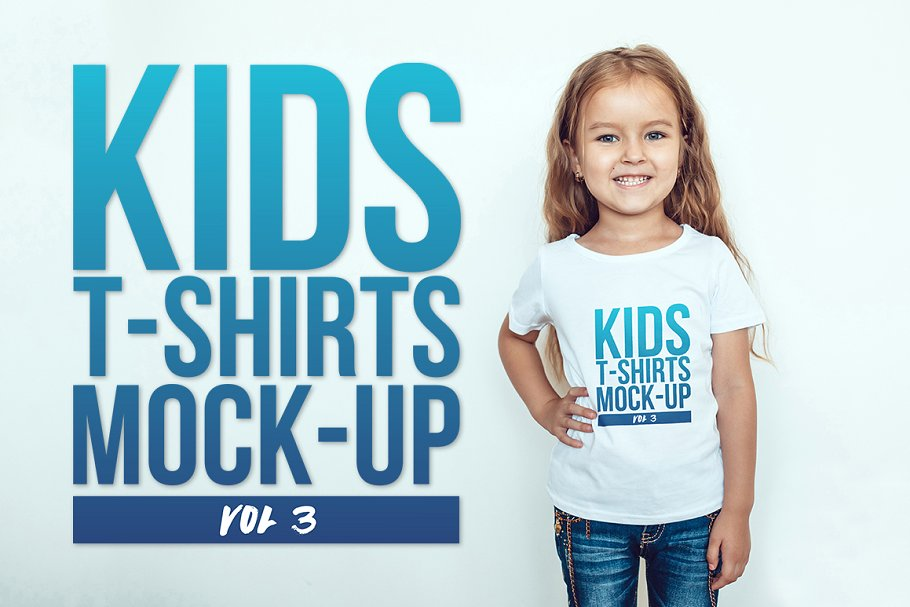 A Cute Girl Wearing An Editable Kids T-Shirt Mockup.