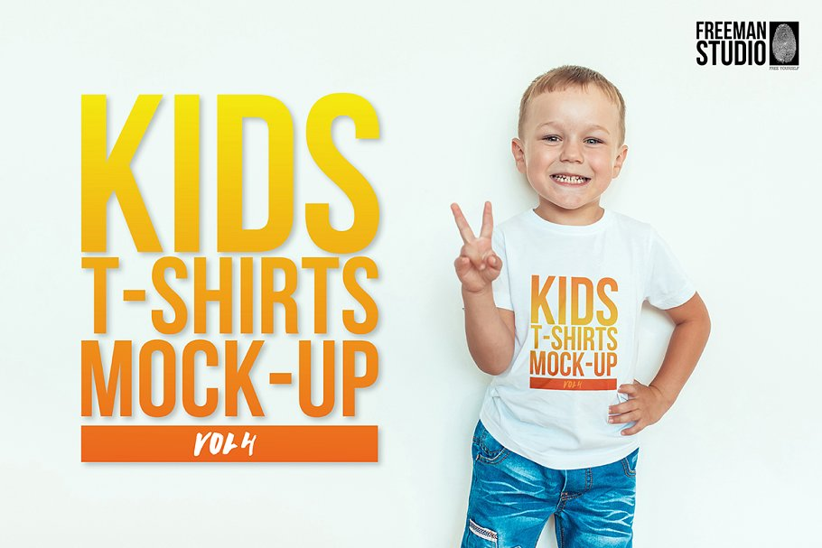 A Cute Kid In White T-shirt And Blue Jeans Mockup.