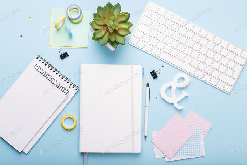 A Diary Placed With Some Tools Kit PSD Template.
