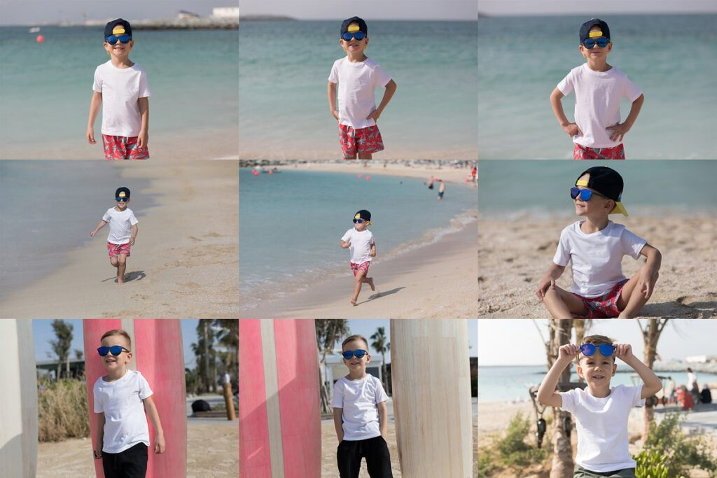 A Fashionable Kid Wearing White T-shirt Near A Sea PSD Mockup.