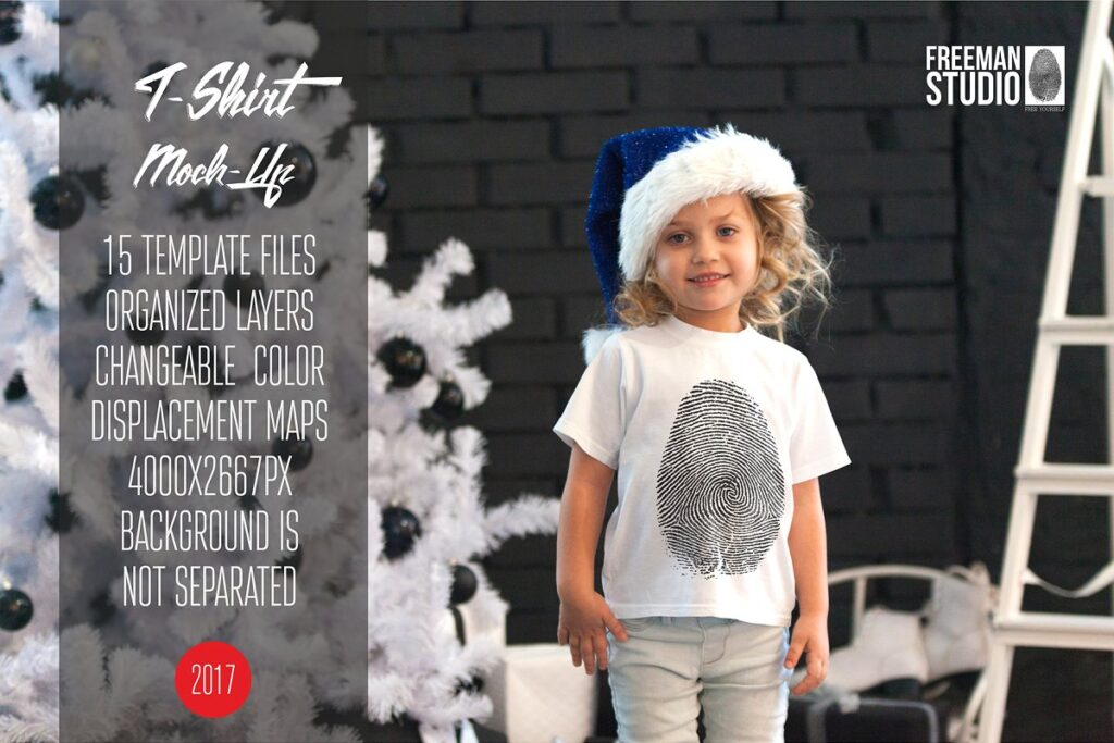 A Girl Wearing Christmas T-shirt And A Hat Mockup.