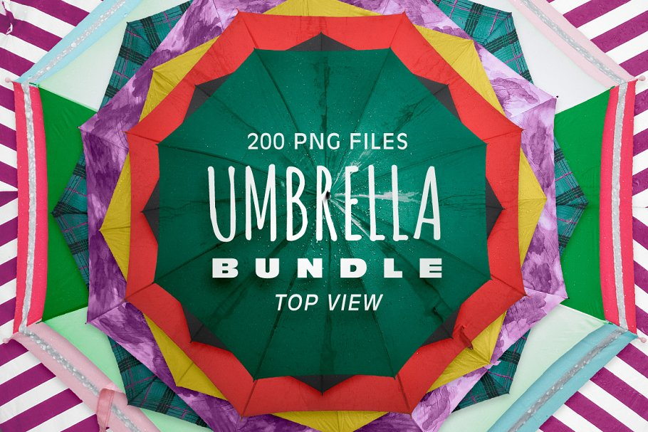 A Huge Bundle Of Colorful Umbrella Mockup.