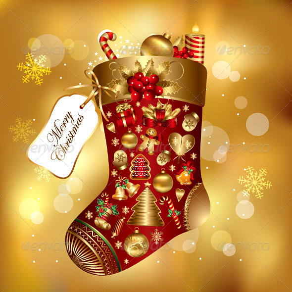 A Huge Socks Carrying Christmas Gifts Vector.