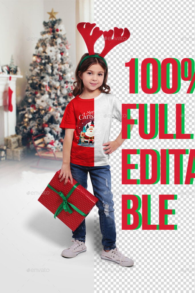 A Kid Wearing A Christmas T-shirt Mockup.
