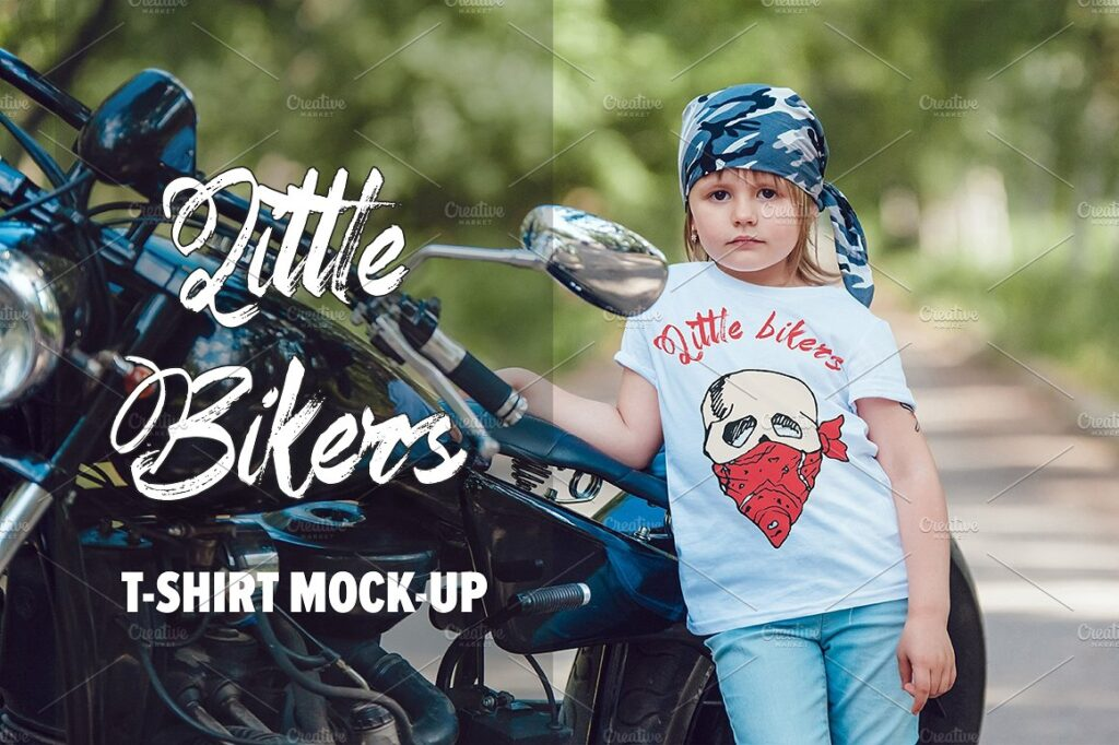 A Kid Wearing Biker's T-shirt Near A Bike PSD Template.