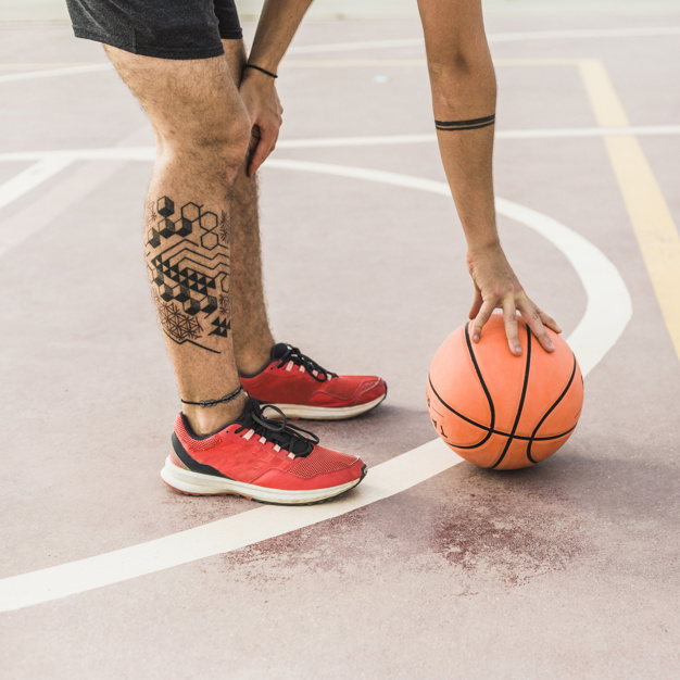 A Man Picking Basketball In His Spots Shoe Mockup