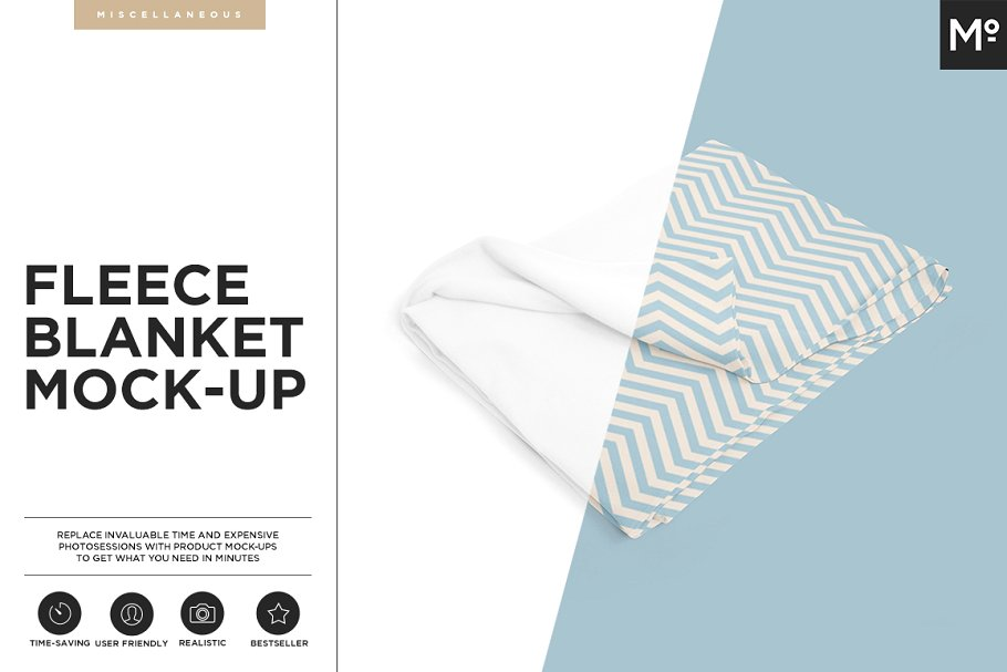 A Set Of Fleece Blanket PSD Mockup.