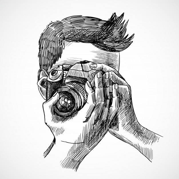 A Sketch Of Man Taking Pictures With His Camera PSD Mockup.